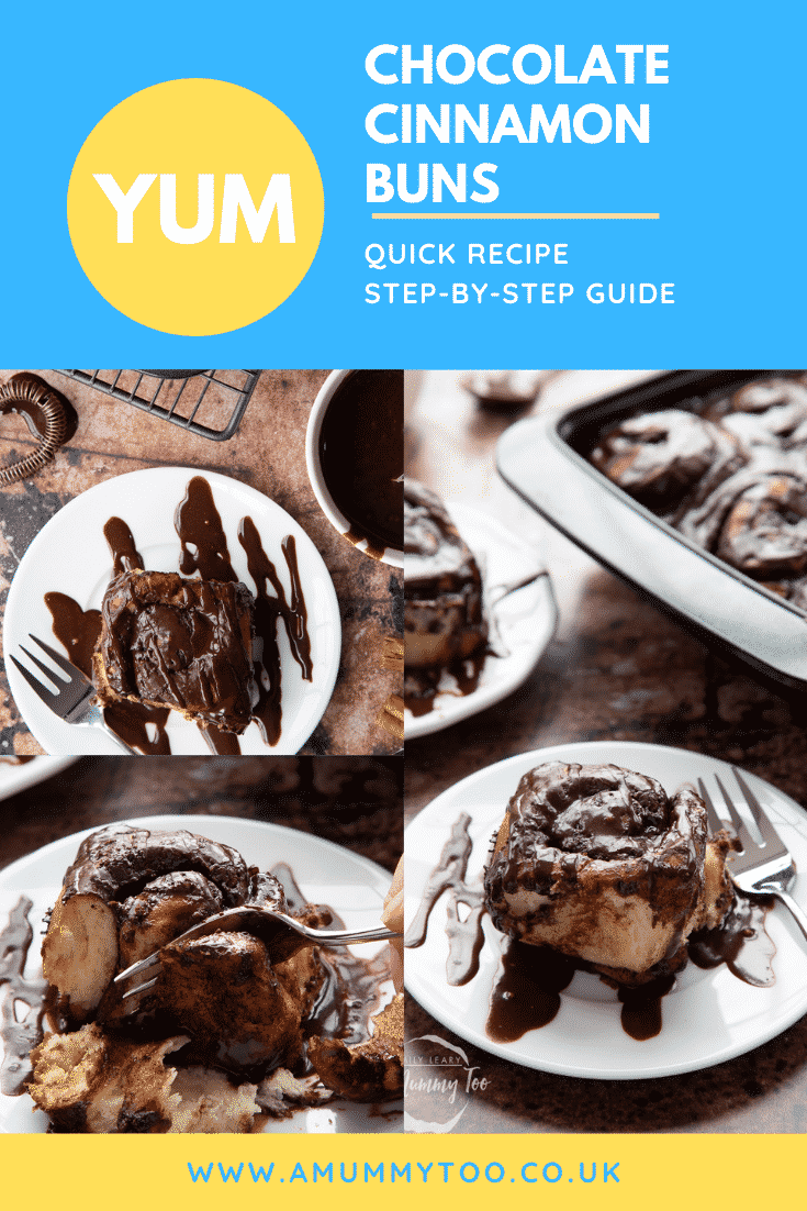 graphic text step-by-step recipe CHOCOLATE CINNAMON BUNS above Overhead shot with chocolate cinnamon buns cut in half with website URL below
