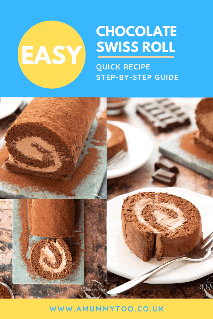 Collage of Chocolate Swiss roll on a marble board and sliced on a white plate. Caption reads: easy chocolate Swiss roll quick recipe step-by-step guide.