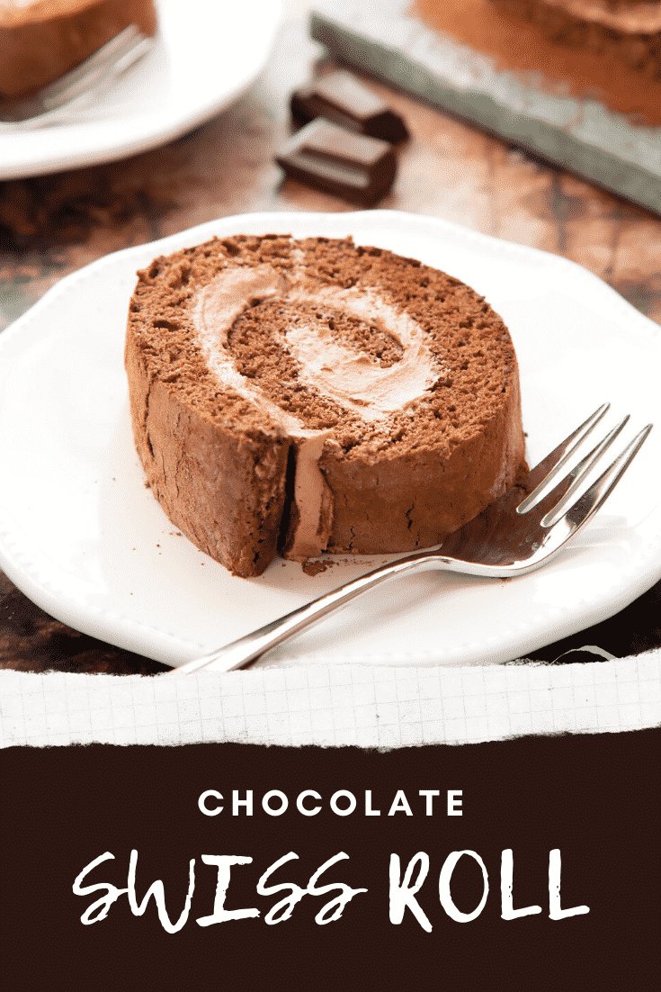 Chocolate Swiss roll on a white plate with a fork. Caption reads: chocolate Swiss roll