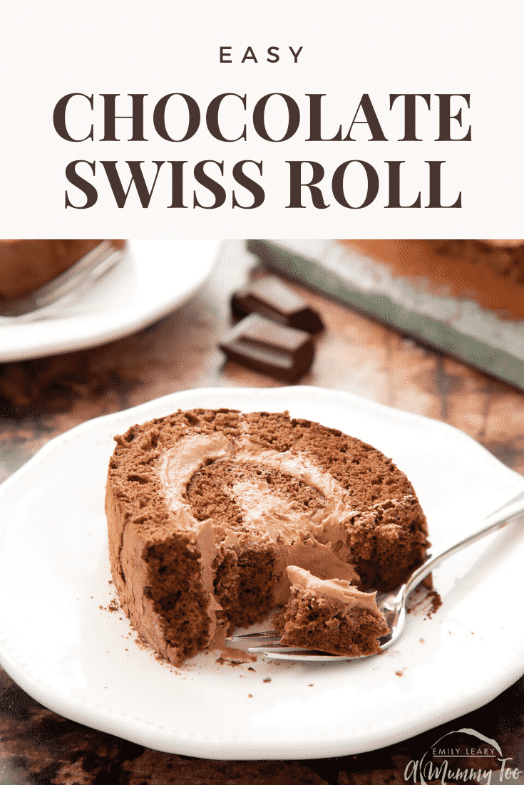 Chocolate Swiss roll on a white plate with a fork - some has been eaten. Caption reads: chocolate Swiss roll