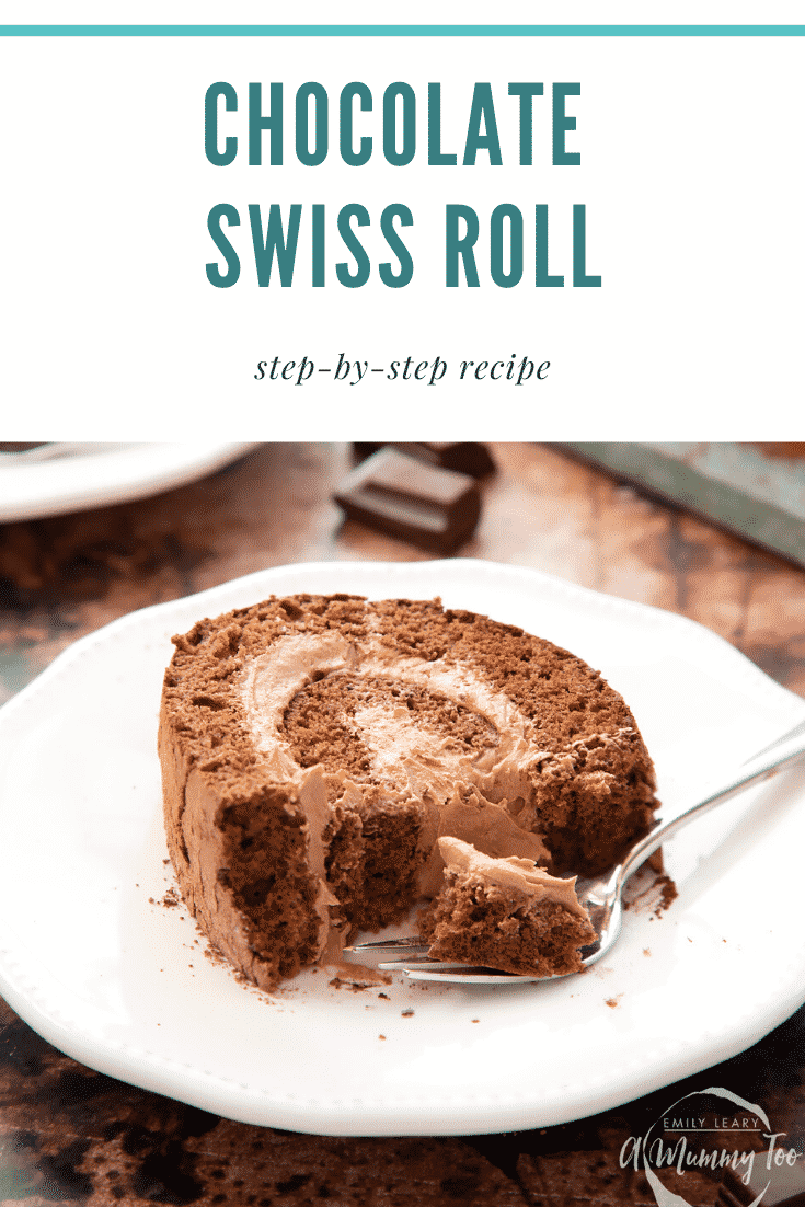 Chocolate Swiss roll on a white plate with a fork. Caption reads: chocolate Swiss roll step-by-step recipe