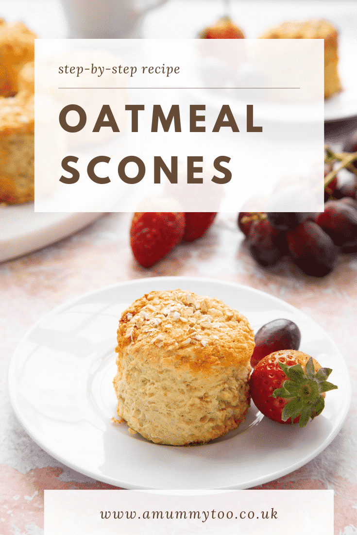 Oatmeal scone on a white plate. Caption reads: Step-by-Step Recipe Oatmeal Scones