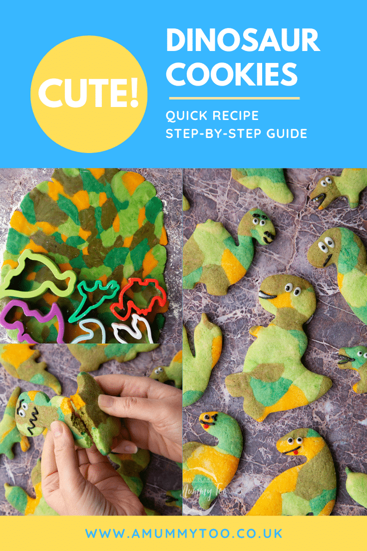 graphic text step-by-step recipe DINOSAUR COOKIES above Overhead shot of a hand holding a green dinosaur sugar cookie with website URL below