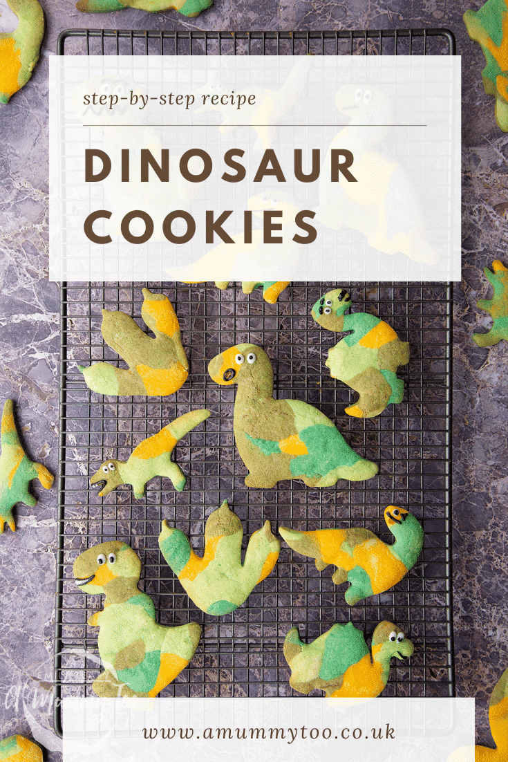 graphic text step-by-step recipe DINOSAUR COOKIES above Overhead shot green dinosaur sugar cookies on a wire rack with website URL below