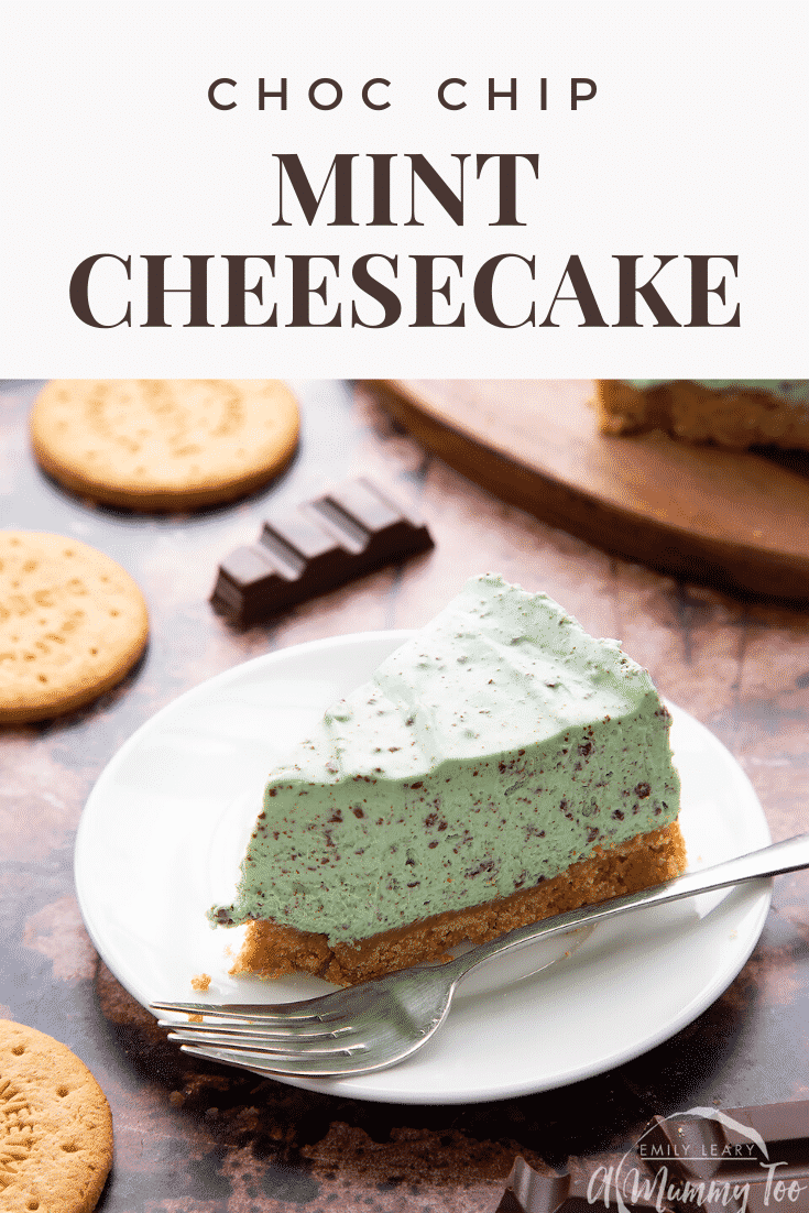 A slice of no bake mint cheesecake with a biscuit base on a white plate. with a fork. Caption reads: Choc chip mint cheesecake