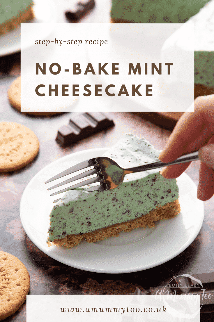 A slice of no bake mint cheesecake with a biscuit base on a white plate with a hand holding a fork. Caption reads: step-by-step recipe no-bake mint cheesecake