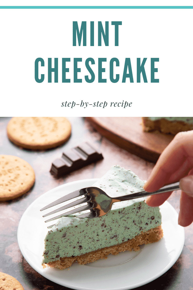 A slice of no bake mint cheesecake with a biscuit base on a white plate with a hand holding a fork. Caption reads: mint cheesecake step-by-step recipe