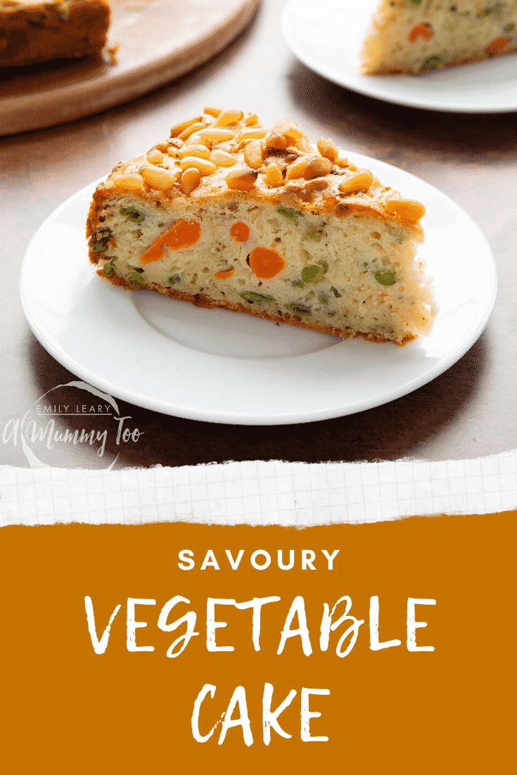 A slice of vegetable cake on a small white plate. Caption reads: savoury vegetable cake.