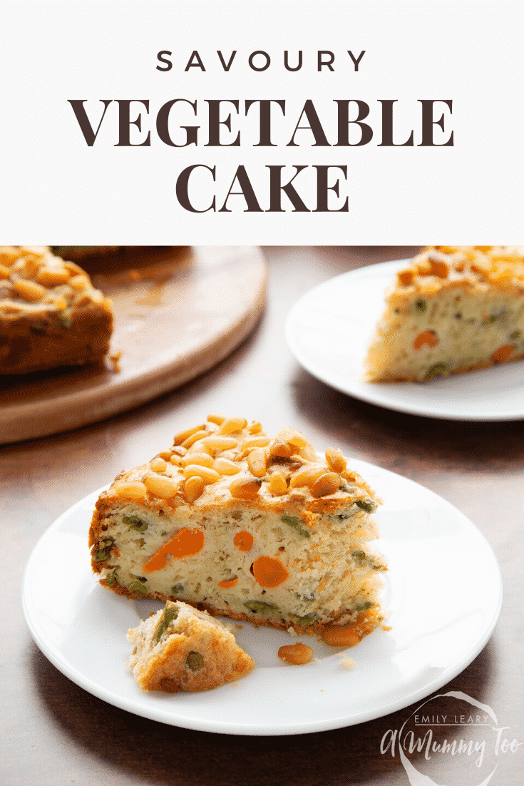 A slice of vegetable cake on a white plate with a piece broken off. Caption reads: savoury vegetable cake.