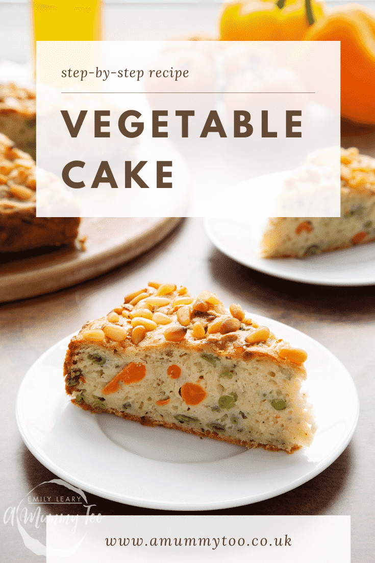 A slice of vegetable cake on a white plate. Caption reads: step-by-step recipe vegetable cake.