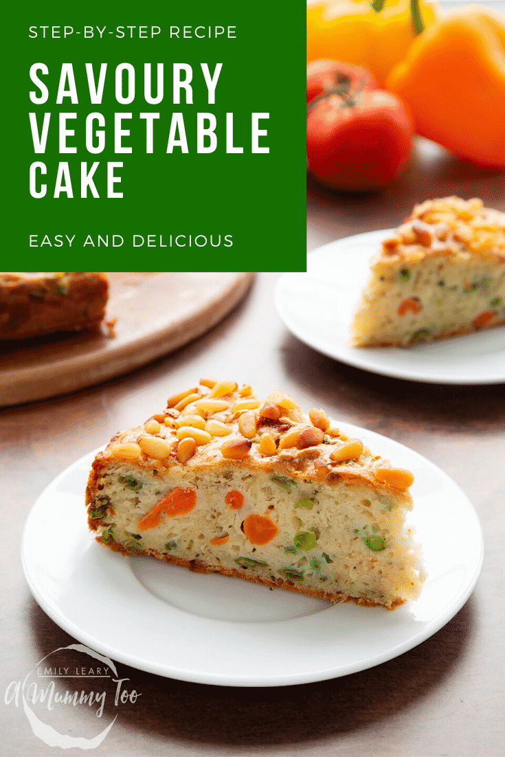A slice of vegetable cake on a white plate. Caption reads: step-by-step recipe savoury vegetable cake easy and delicious