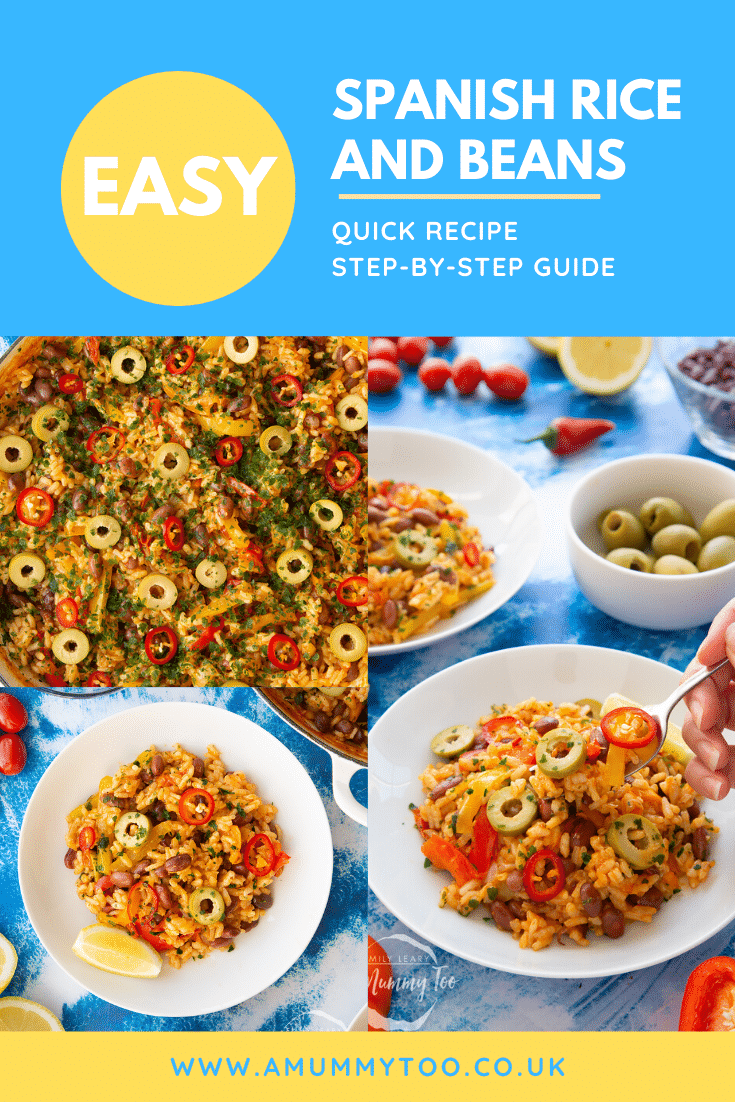Collage of east Spanish rice and beans served in a pot or shallow white bowl. Caption reads: Easy Spanish rice and beans. easy and delicious. Quick recipe. Step-by-step guide.