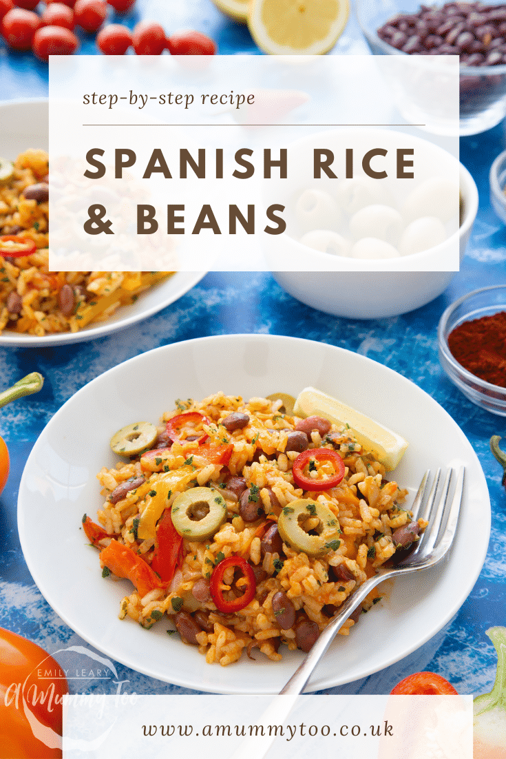 Easy Spanish rice and beans served in a shallow white bowl with a fork. Caption reads: Step-by-step recipe. Spanish rice and beans