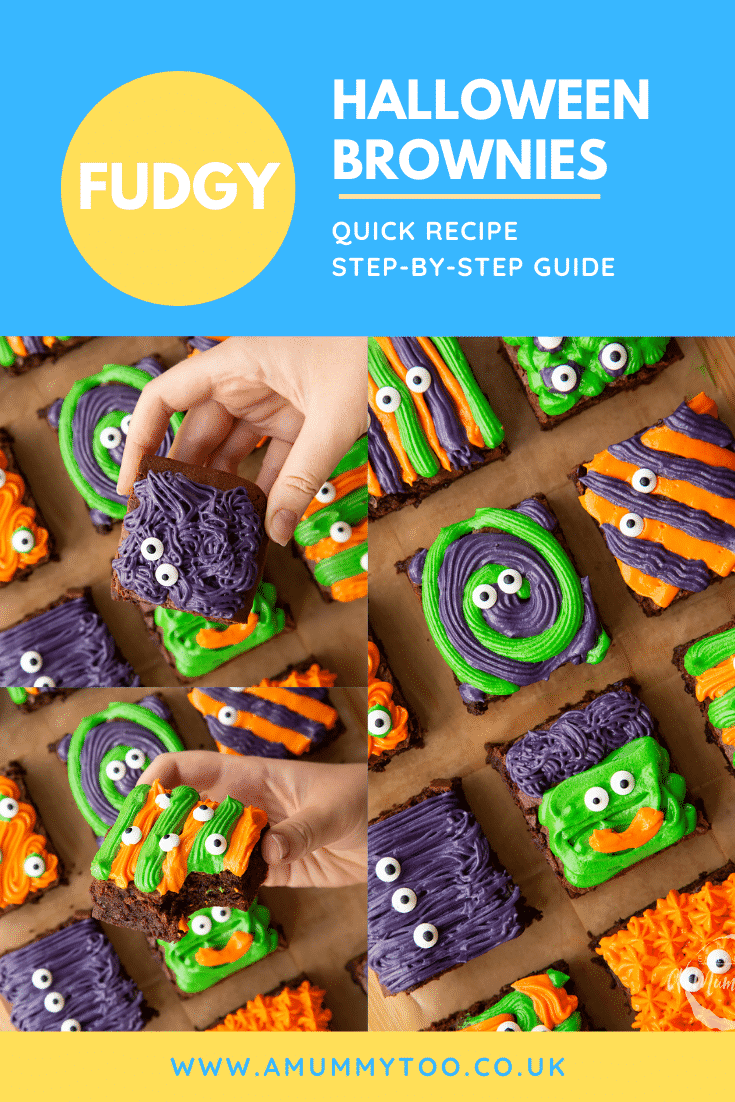 A collage of images of Halloween brownies arranged on a board lined with baking paper. Caption reads: fudgy Halloween brownies quick recipe step-by-step guide