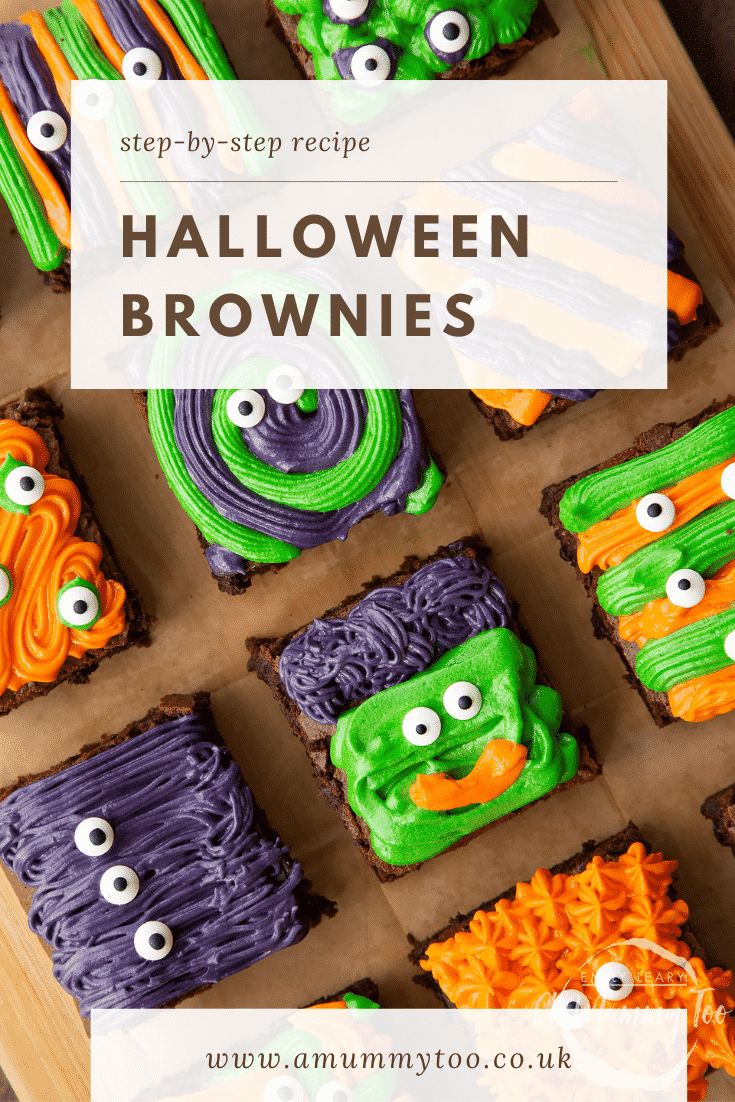 Halloween brownies arranged on a board lined with baking paper. Caption reads: step-by-step recipe Halloween brownies