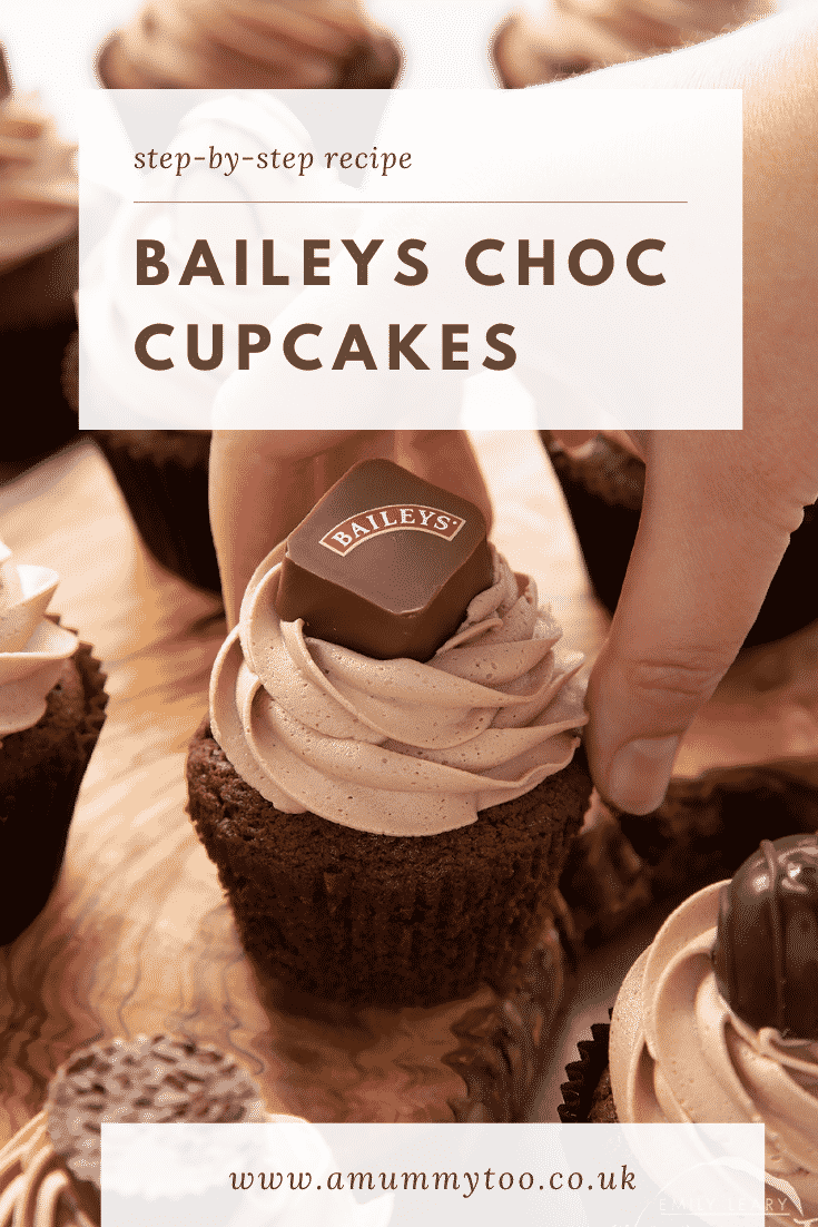 Hand reaching for a Baileys chocolate cupcake on a board. Caption reads: Step-by-step recipe. Baileys chocolate cupcakes.