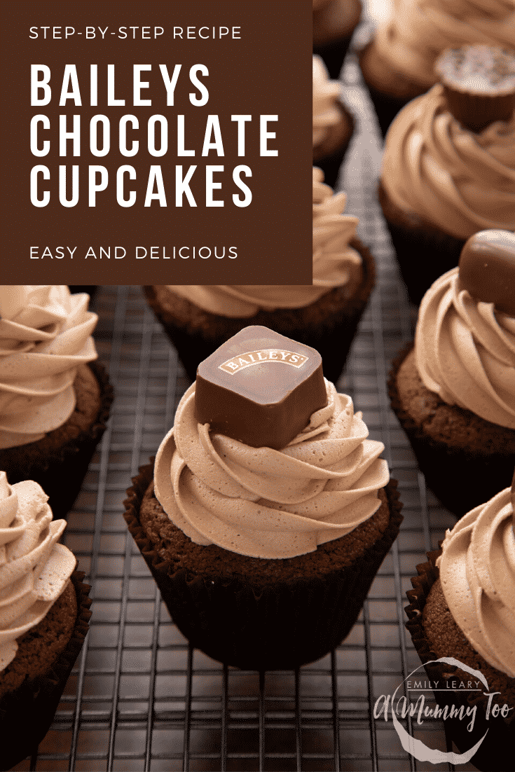 Baileys chocolate cupcakes on a wire cooling rack. Caption reads: Step-by-step recipe. Baileys chocolate cupcakes. Easy and delicious.