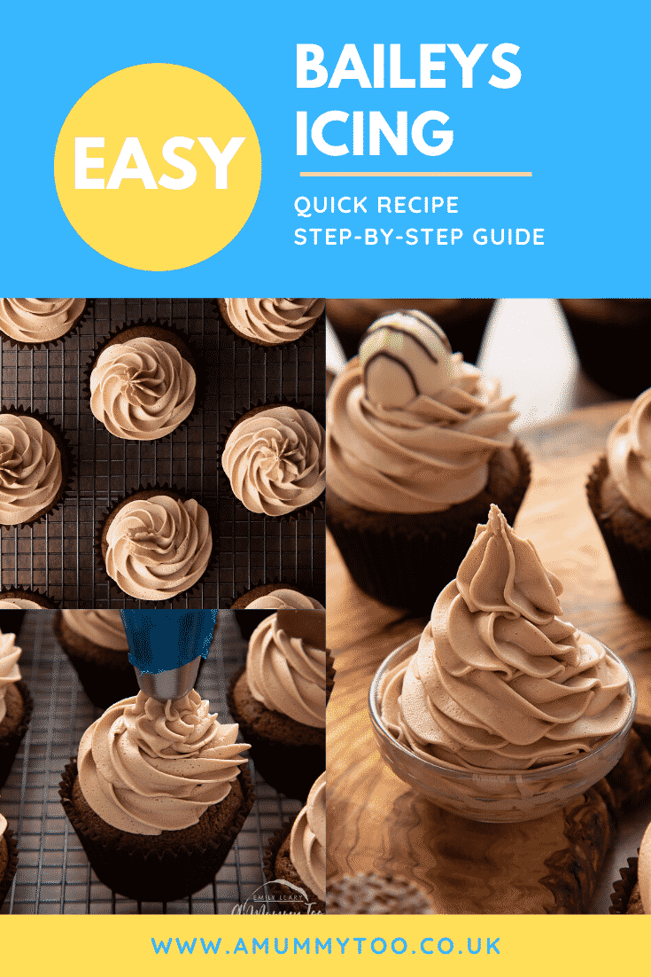 Collage of Baileys icing piped onto a chocolate cupcakes. Caption reads: Easy Baileys icing. Quick recipe. Step-by-step guide.
