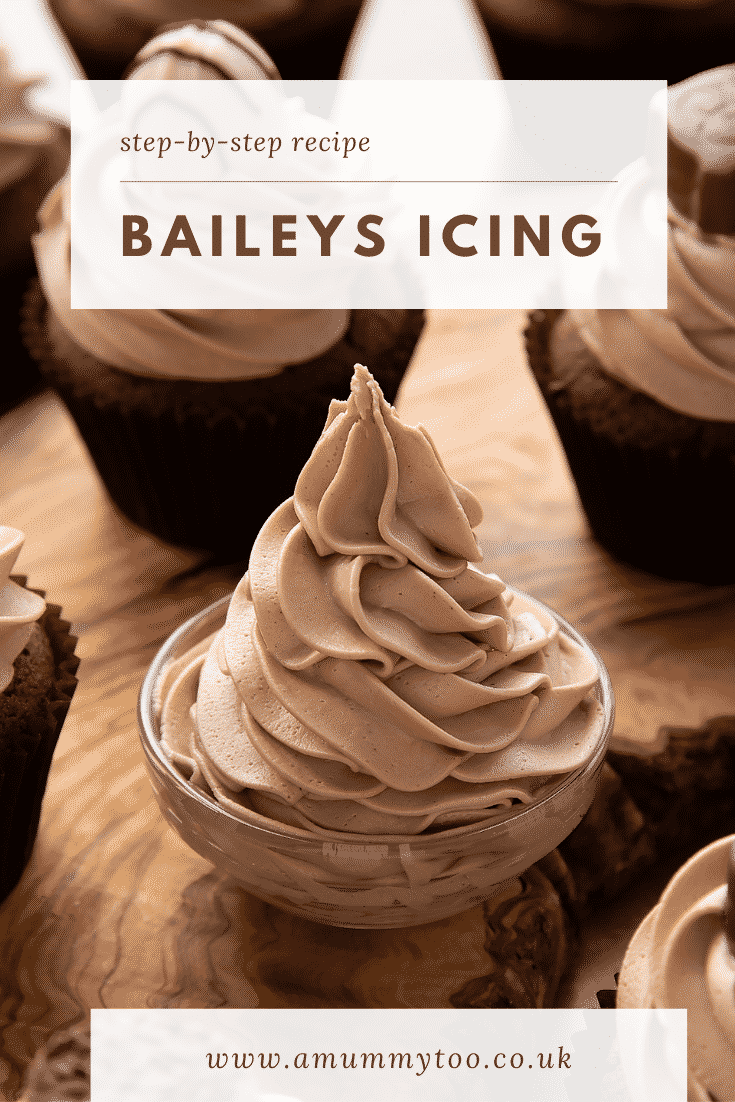 Baileys icing piped into a small glass bowl. Caption reads: Step-by-step recipe. Baileys icing.