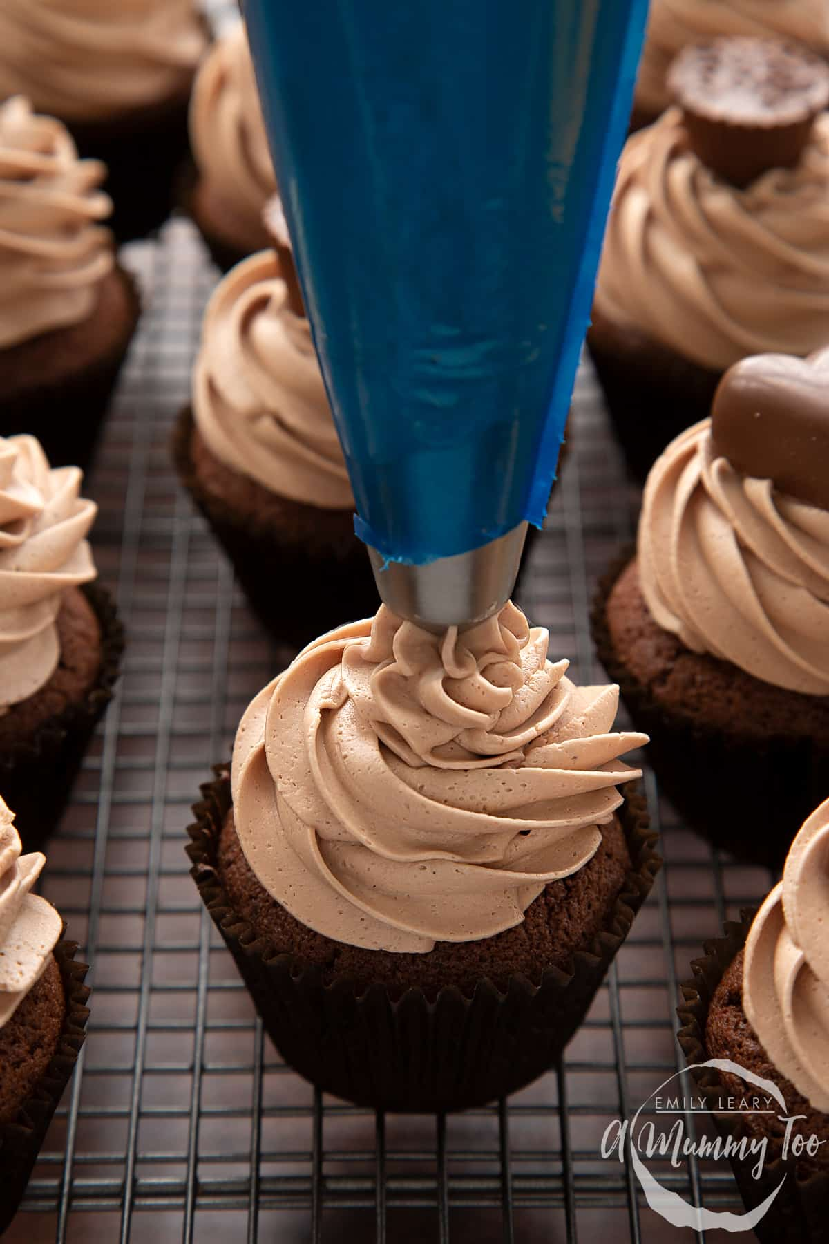 Baileys icing being piped onto a chocolate cupcake using a blue piping bag with a metal star nozzle.