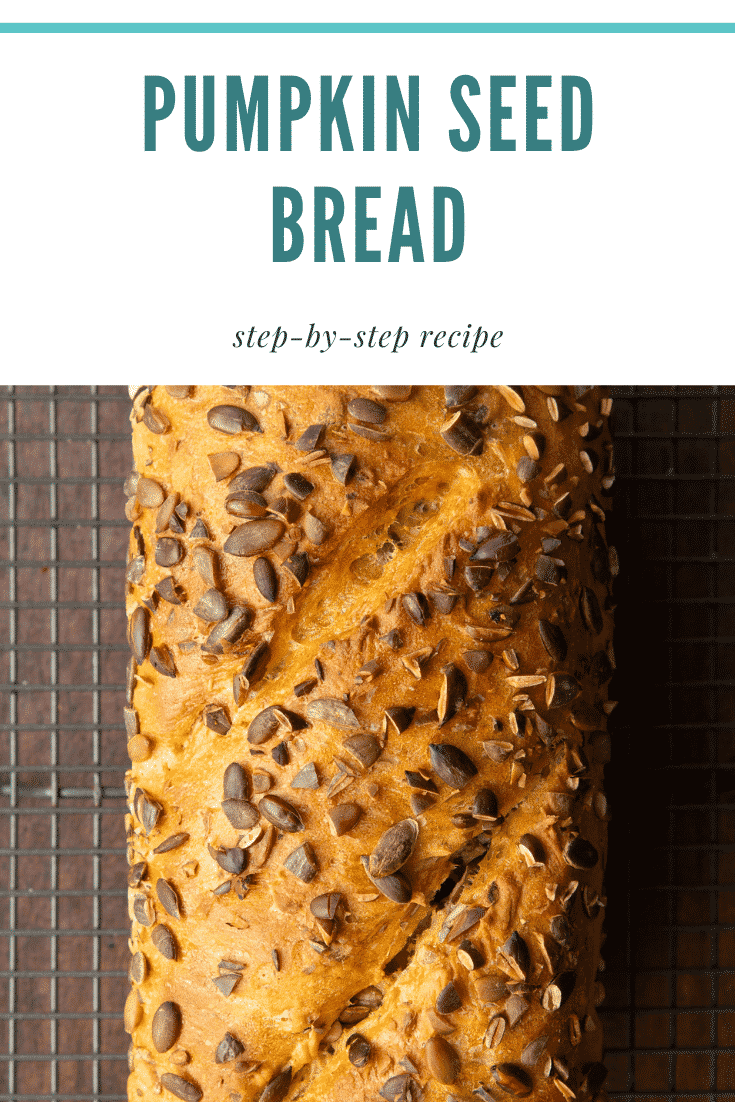 Baked pumpkin seed bread on a wire cooling rack. Caption reads: Pumpkin seed bread. Step-by-step recipe.
