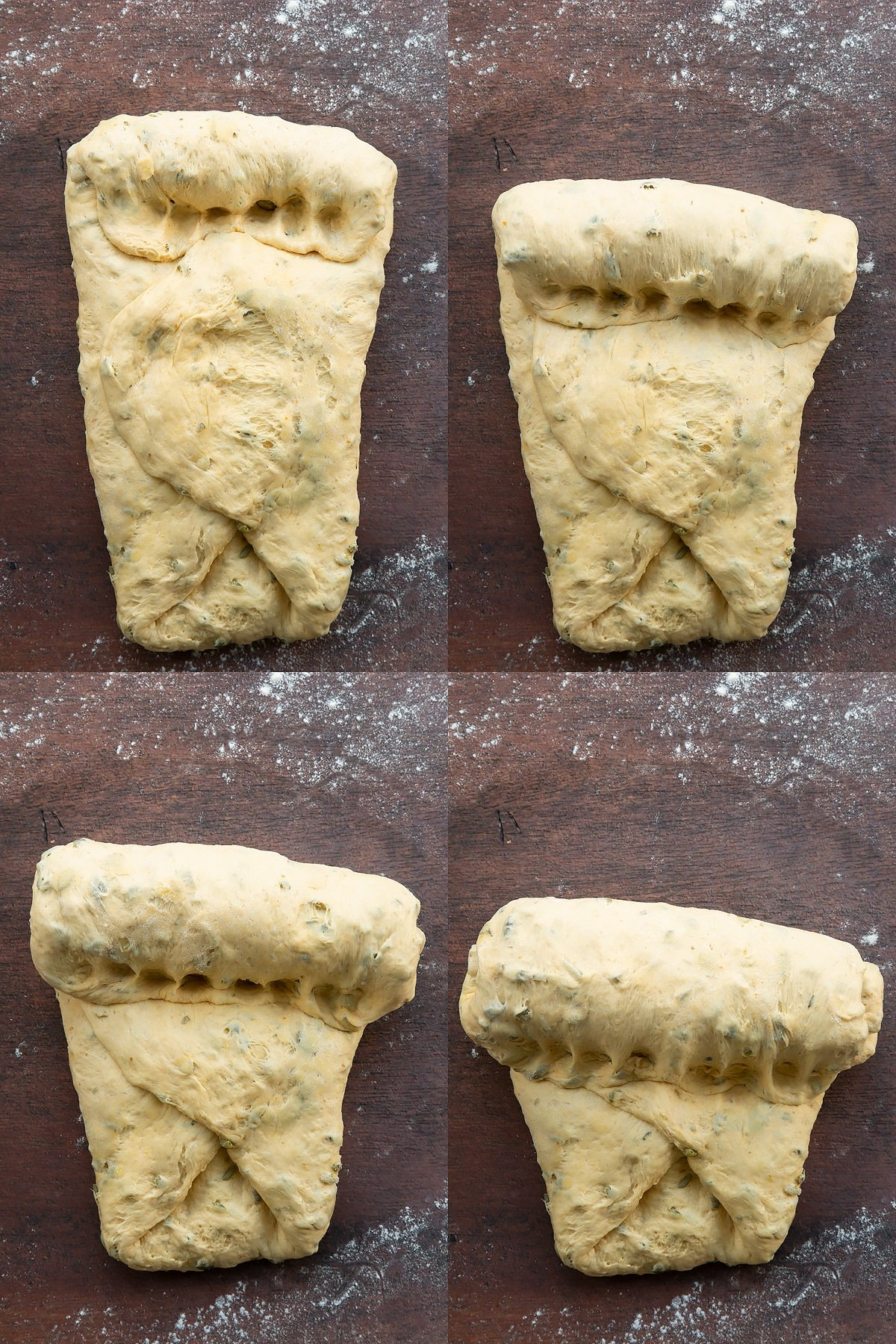 Collage of images showing pumpkin seed bread dough being shaped.