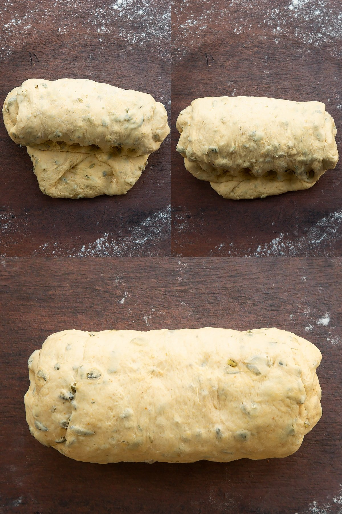 Collage of images showing pumpkin seed bread dough being shaped into a sausage on a floured surface.