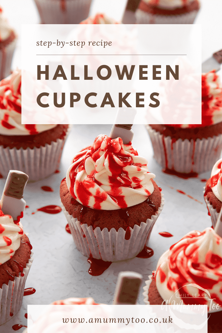 Red velvet Halloween cupcake, spattered with red syrup. Caption reads: Step-by-step recipe. Halloween cupcakes.