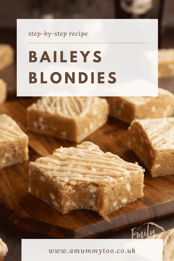 Baileys blondie with a bite out of it on a wooden board. Caption reads: Step-by-step recipe Baileys blondies.