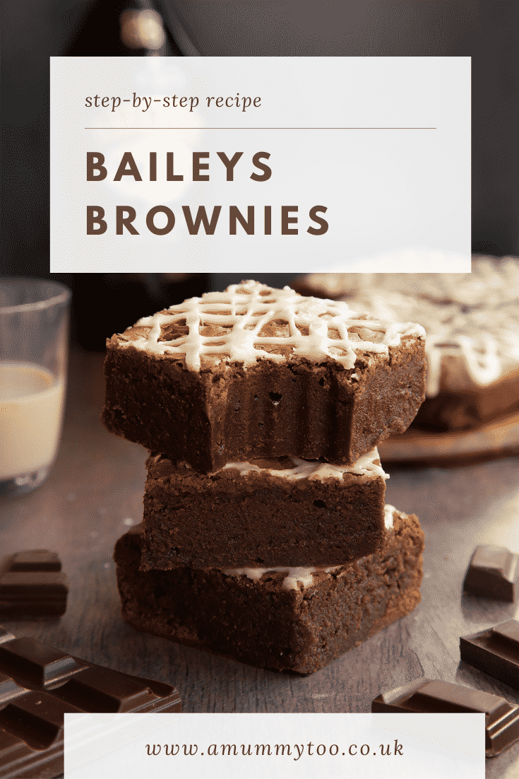 Stack of iced Baileys brownies, with more brownies and a bottle of Baileys in the background. One has a bite out of it. Caption reads: Step-by-step recipe. Baileys brownies.