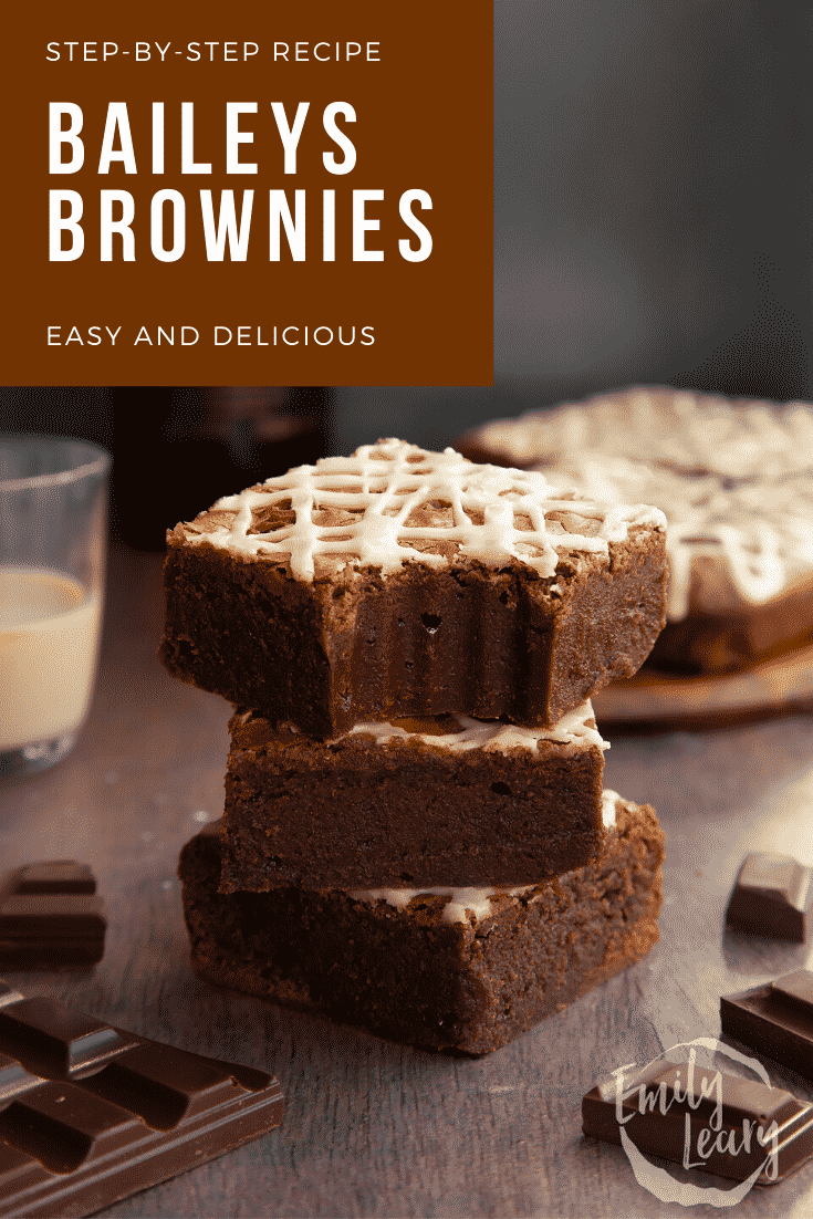 Stack of iced Baileys brownies, with more brownies and a bottle of Baileys in the background. Caption reads: Step-by-step recipe. Baileys brownies. Easy and delicious.