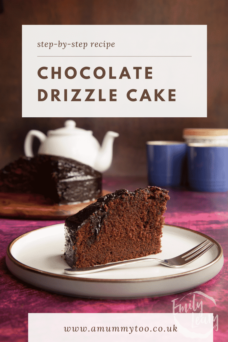 A slice of chocolate drizzle cake on a plate with a fork. Caption reads: Step-by-step recipe chocolate drizzle cake.