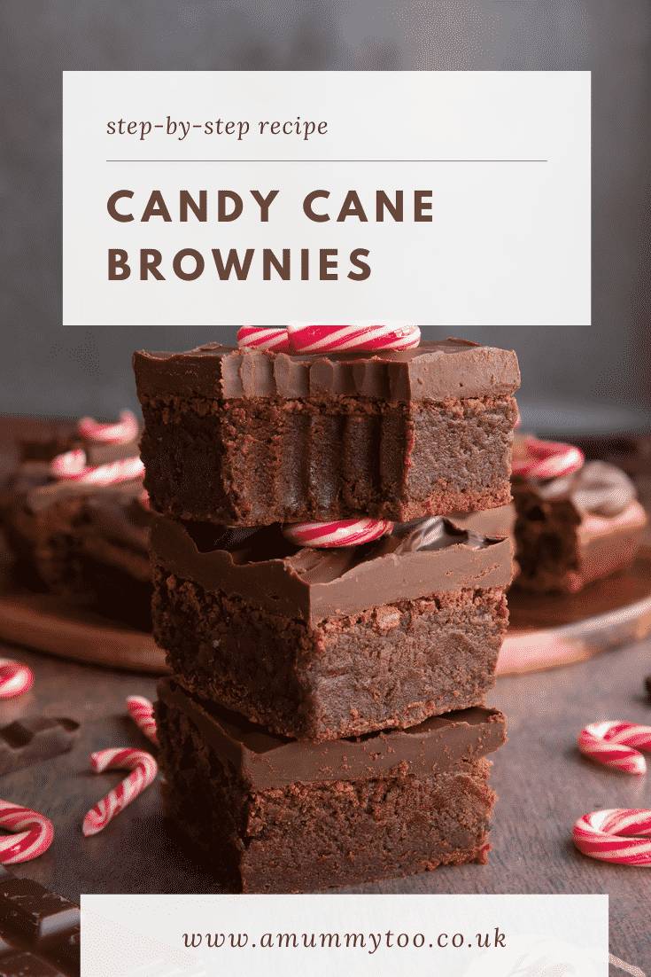 A stack of candy cane brownies. One has a bite out of it. Caption reads: Step-by-step recipe candy cane brownies.