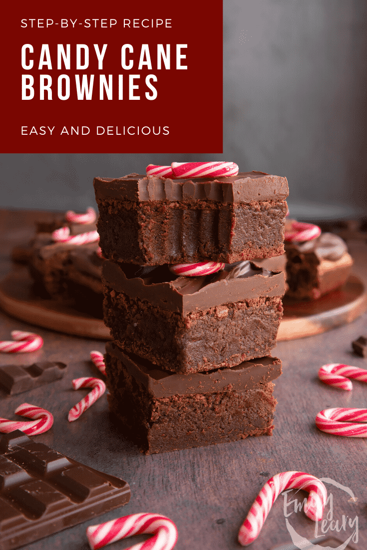 A stack of candy cane brownies. One has a bite out of it. Caption reads: Step-by-step recipe candy cane brownies. Easy and delicious.