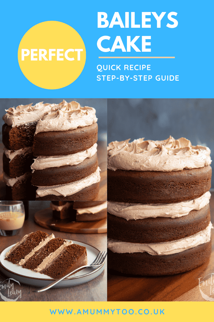 Collage of chocolate Baileys cake with Baileys buttercream frosting on a board or plate. Caption reads: Perfect Baileys cake. Quick recipe. Step-by-step guide.
