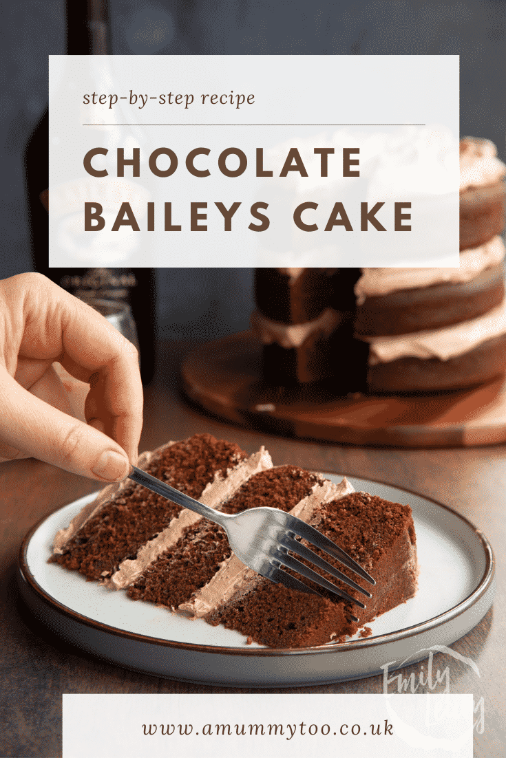 Slice of chocolate Baileys cake with Baileys buttercream frosting on a white plate with a hand holding a fork. Caption reads: Step-by-step recipe. Chocolate Baileys cake.