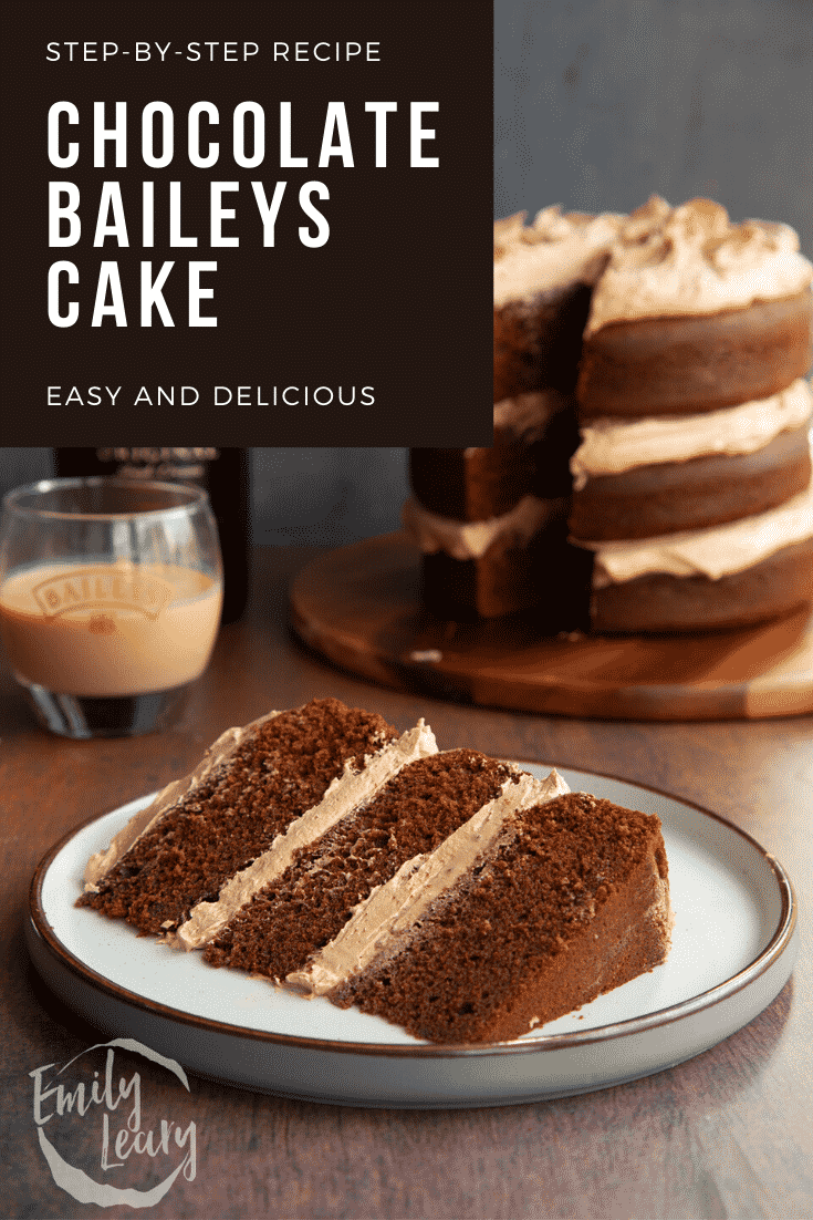 Slice of chocolate Baileys cake with Baileys buttercream frosting on a white plate. Caption reads: Step-by-step recipe. Chocolate Baileys cake. Easy and delicious.