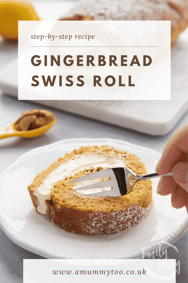 A slice of gingerbread Swiss roll on a white plate with a fork delving in. Caption reads: Step-by-step recipe. Gingerbread Swiss roll.