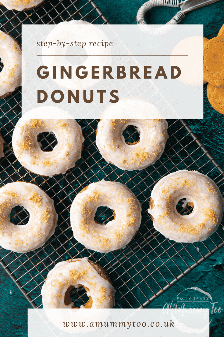 Baked gingerbread donuts with a lemon glaze on a wire cooling rack. Caption reads: Step-by-step recipe gingerbread donuts.