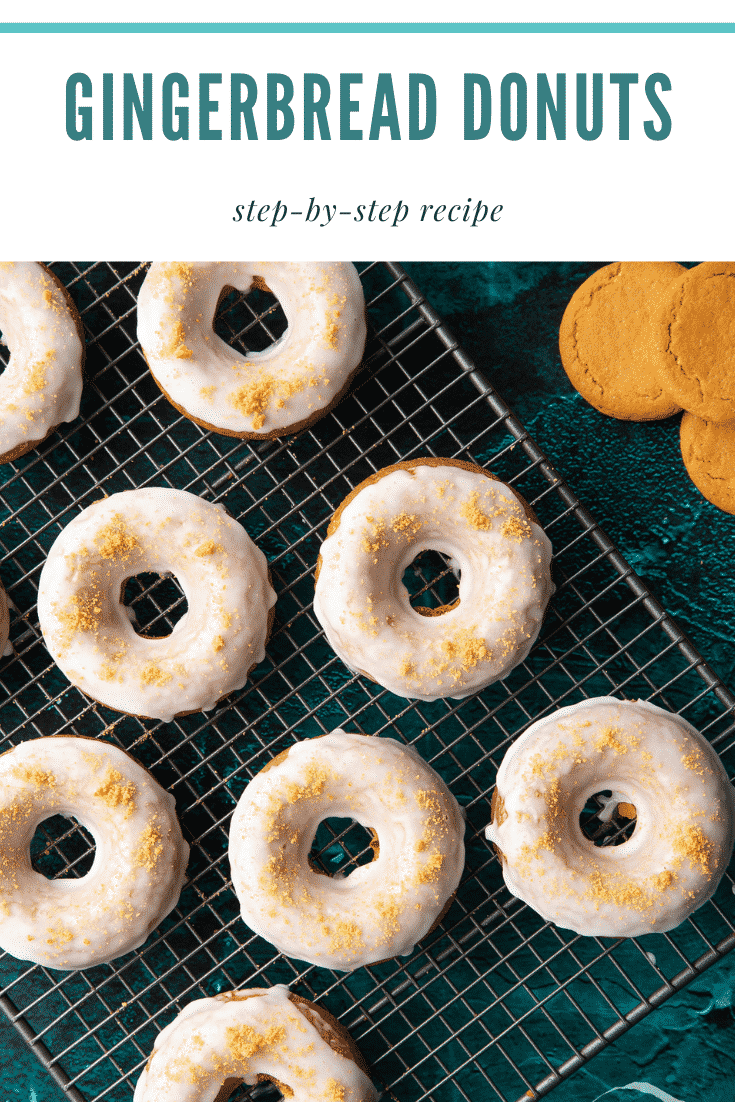 Baked gingerbread donuts with a lemon glaze on a wire cooling rack. Caption reads: Gingerbread donuts. Step-by-step recipe.