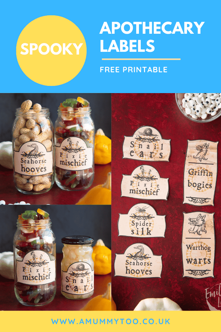 A printable sheet of Halloween apothecary labels on a red background and various labelled jars. Caption reads: Spooky apothecary labels. Free printable.