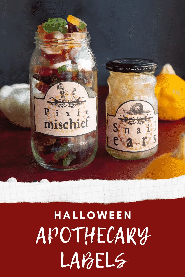 Jars of snacks fitted with Halloween apothecary labels on a red surface. Caption reads: Halloween apothecary labels.