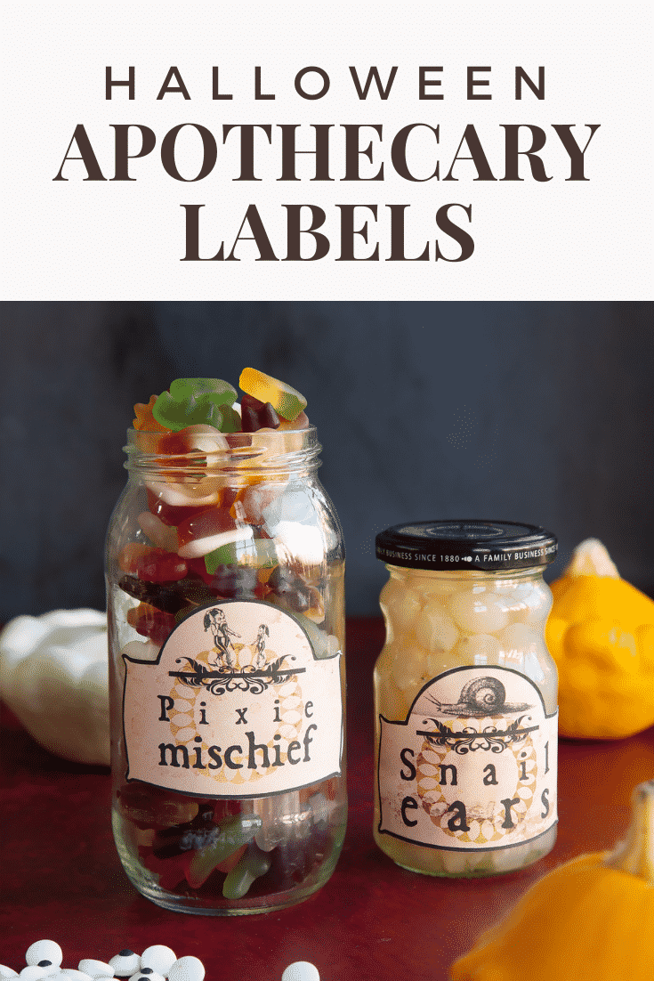 Jars of sweet and savoury snacks fitted with Halloween apothecary labels on a red surface. Caption reads: Halloween apothecary labels.