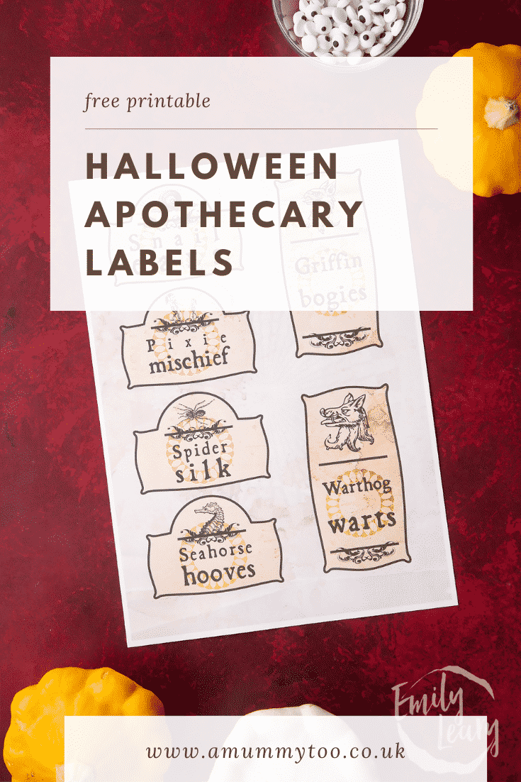 A printable sheet of Halloween apothecary labels on a red background. Caption reads: Free printable Halloween apothecary labels