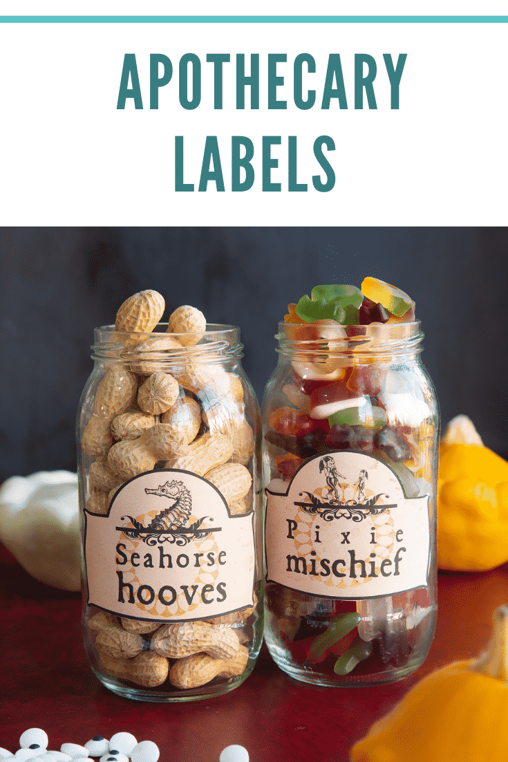 Jars of snacks fitted with Halloween apothecary labels on a red surface. Caption reads: Apothecary labels.