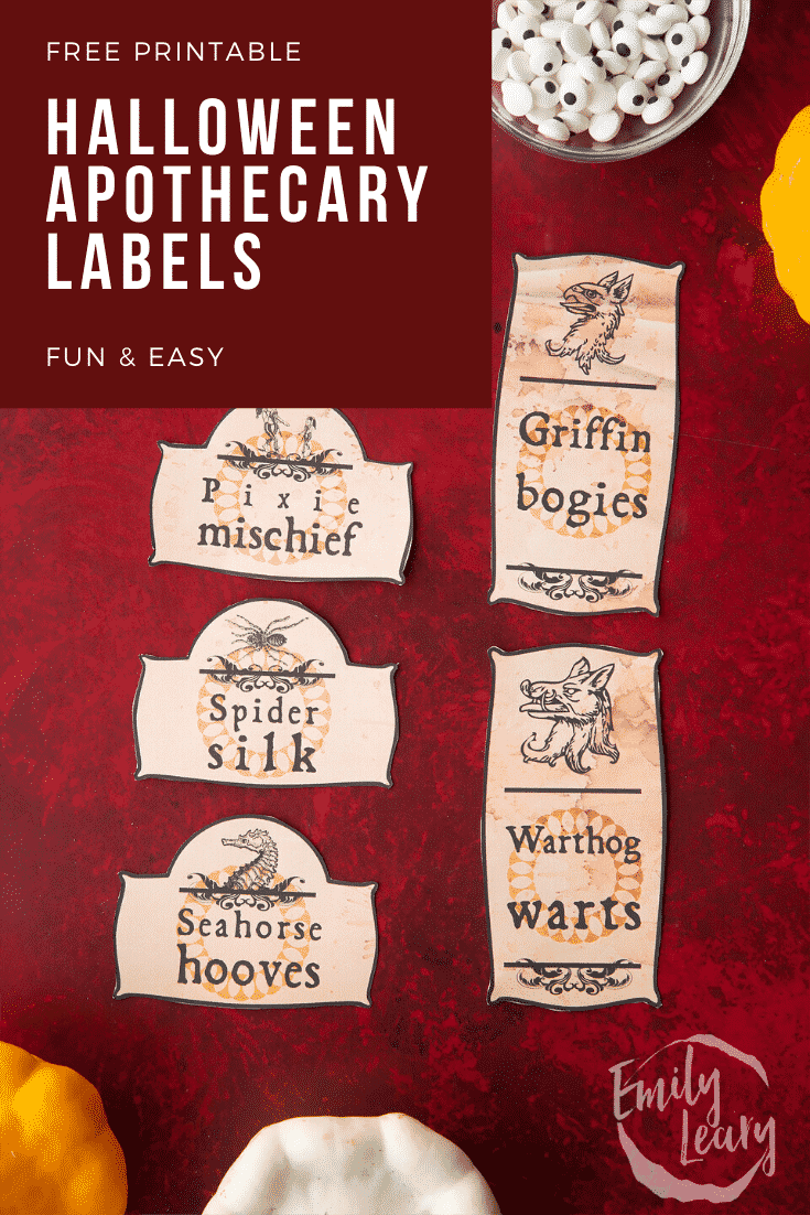 Cut out printable sheet Halloween apothecary labels on a red background. Caption reads: Free printable Halloween apothecary labels fun & easy.
