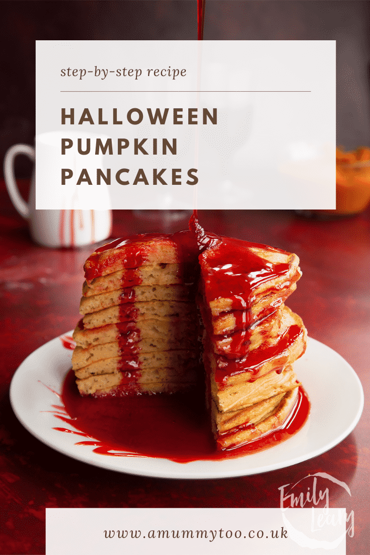 Halloween pancakes stacked on a white plate, drizzled with red syrup. A section has been cut away. Caption reads: Step-by-step recipes. Halloween pancakes.