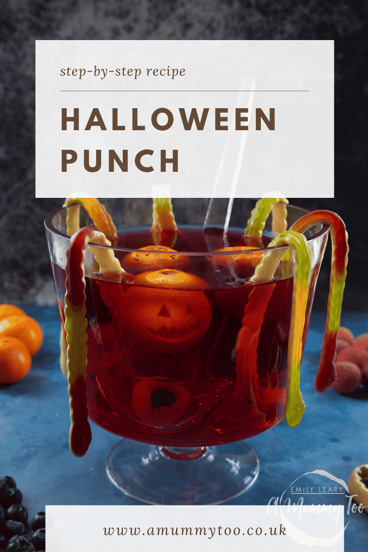 Halloween punch, decorated with fruit and gummy snakes. Caption reads: Step-by-step recipe Halloween punch.