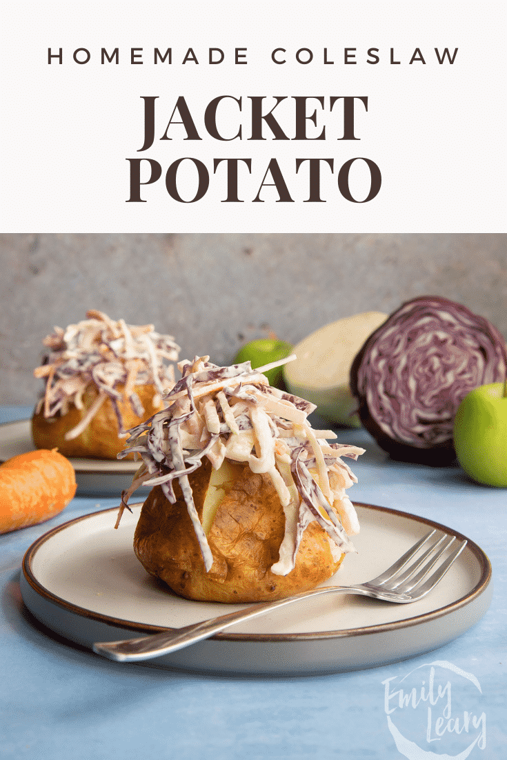 Jacket potato with homemade coleslaw on a plate with a fork. Caption reads: Homemade coleslaw jacket potato