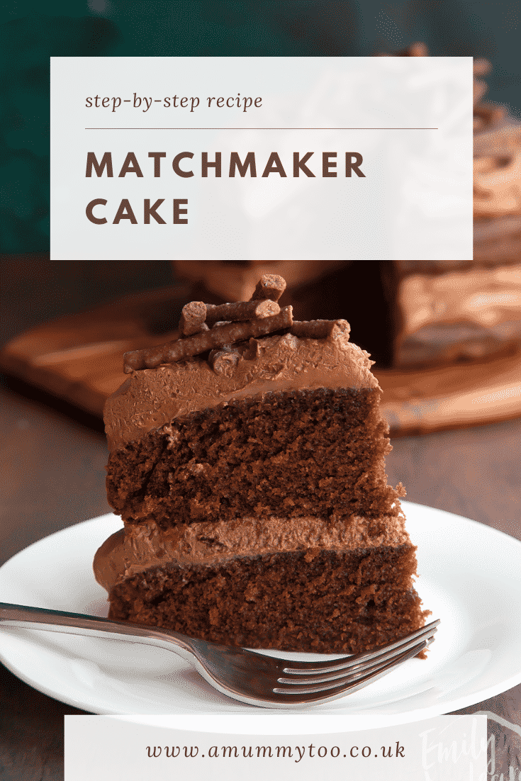Slice of Matchmaker cake on a white plate with a fork. Caption reads: Step-by-step recipe. Mint chocolate Matchmaker cake.